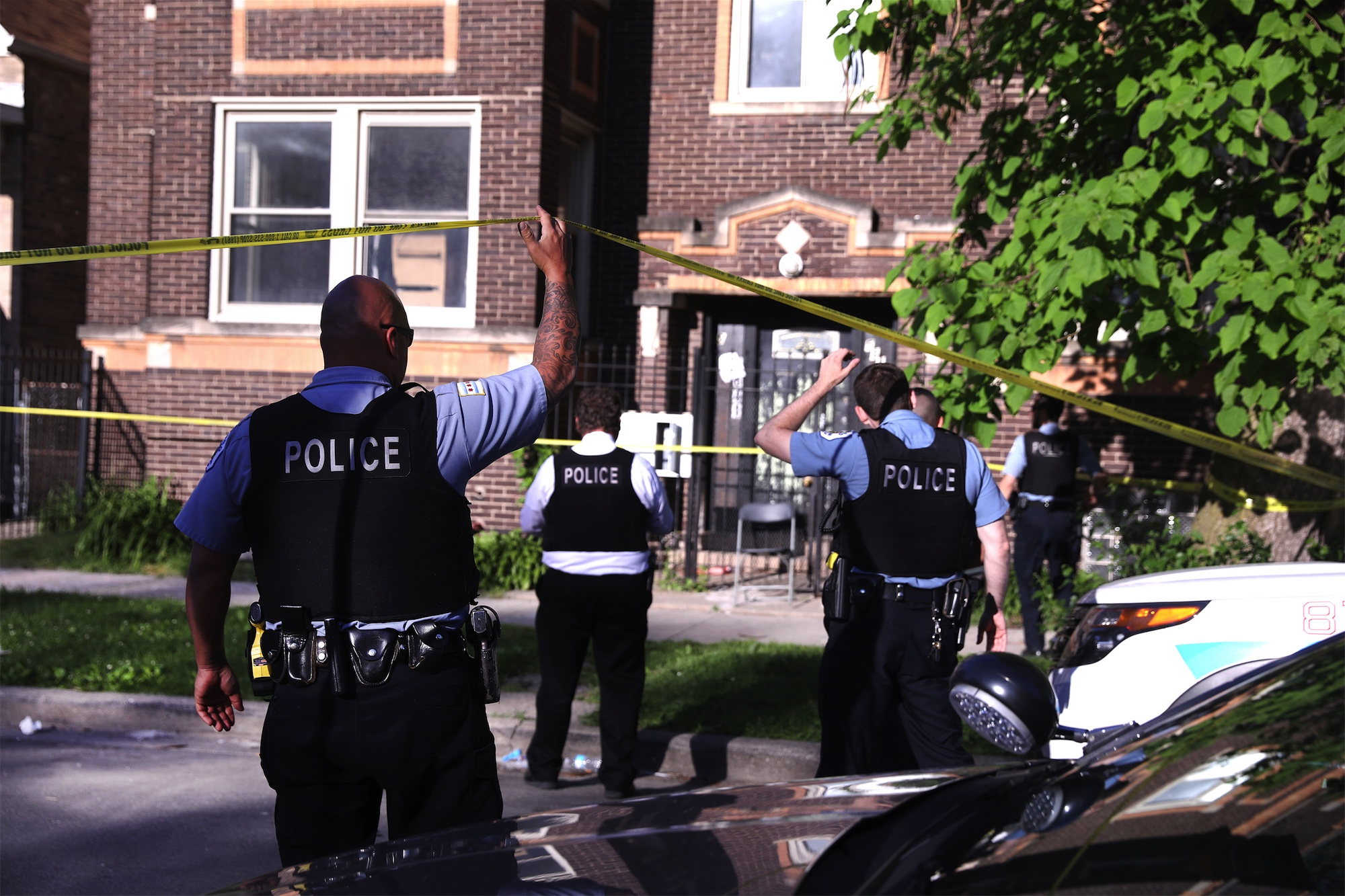 Chicago police at the scene of a shooting in the Englewood neighborhood. Getty Images