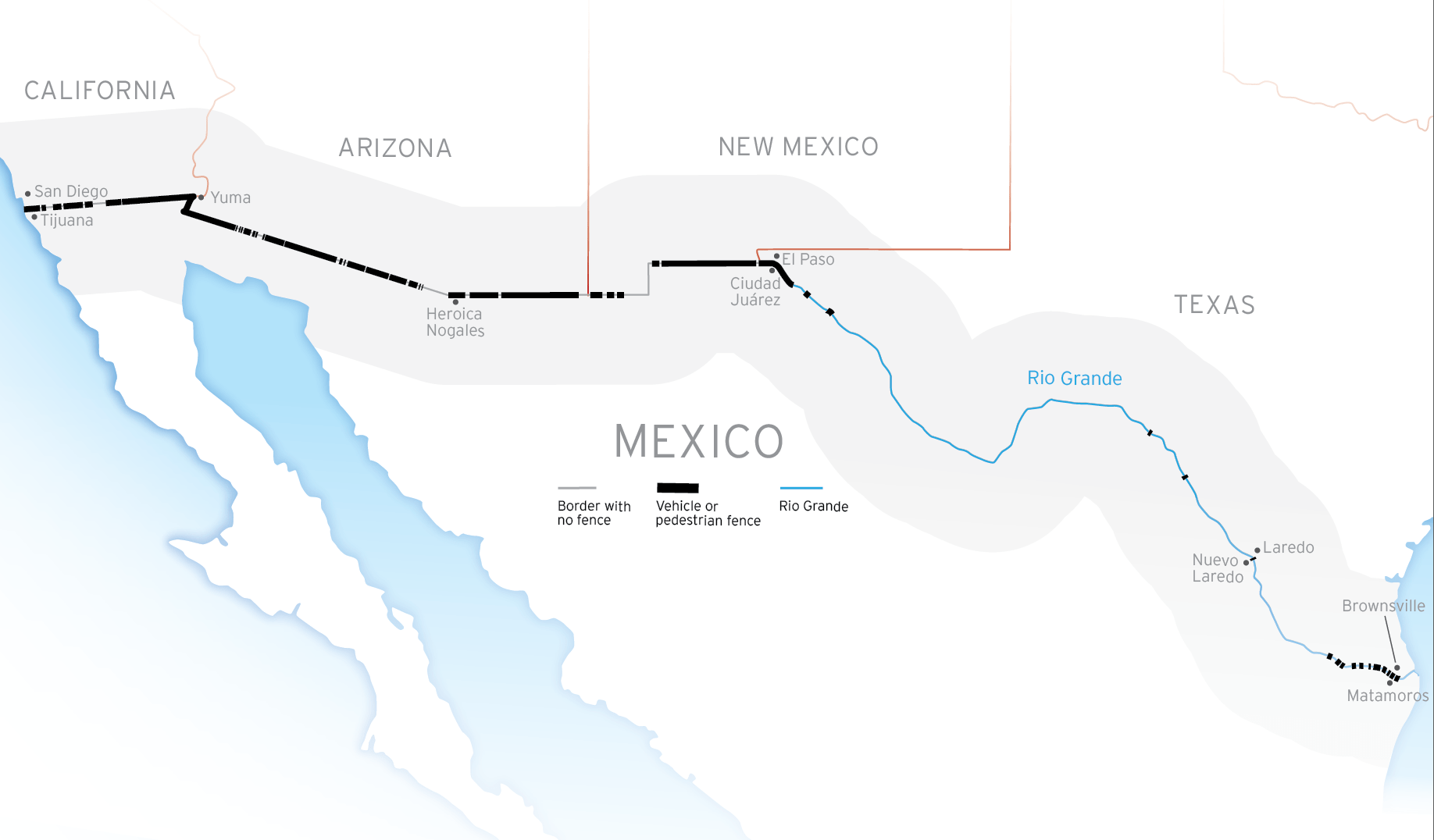 Map showing the composition of the border: Border with no fence, vehicle or pedestrian fence, and the Rio Grande.