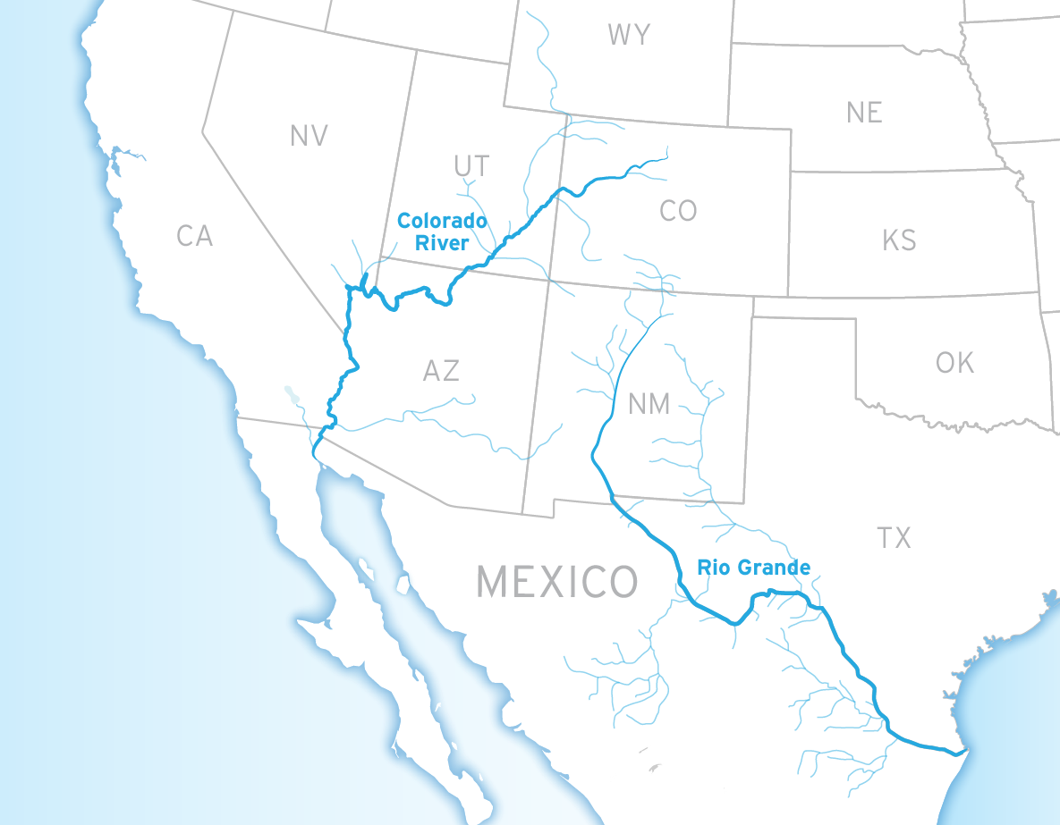 River basins of the Colorado river and Rio Grande.